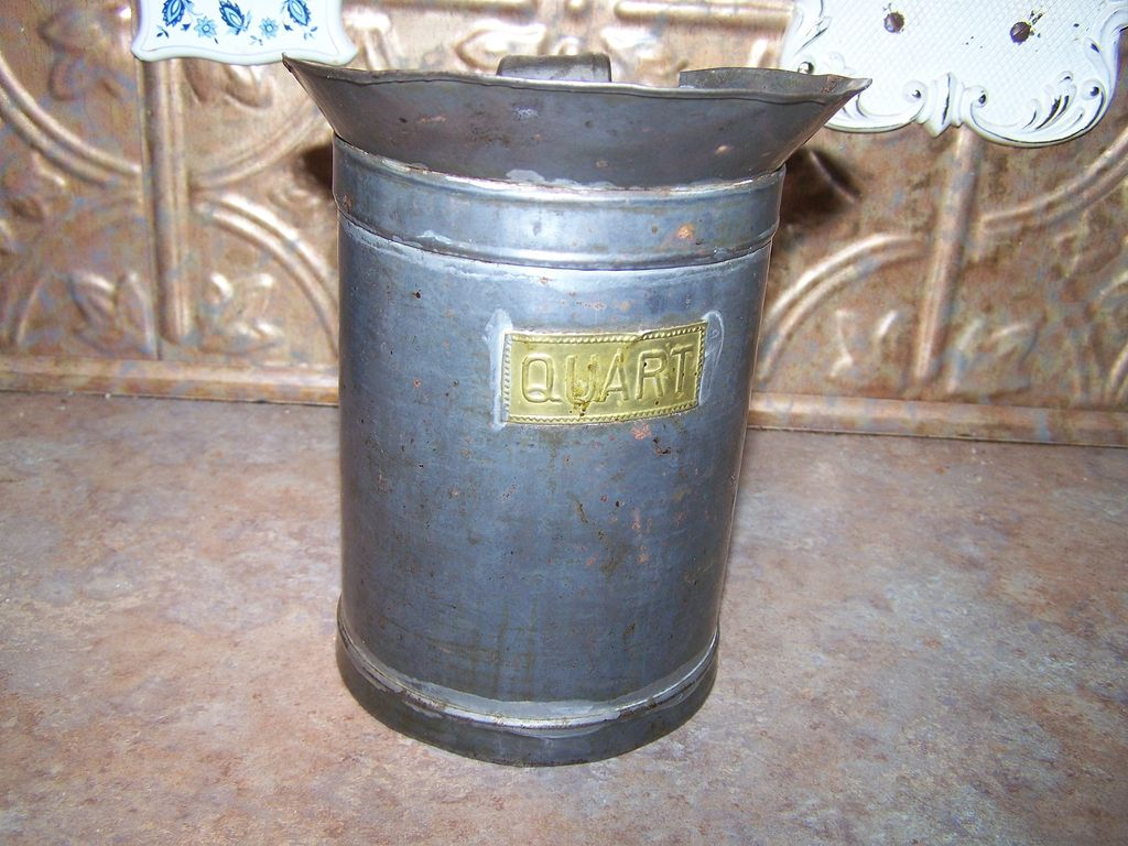 Vintage Tin Measure with Brass Plate Stating Quart