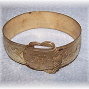 Decorative Victorian Revival Buckle Bangle Bracelet  Floral Motif