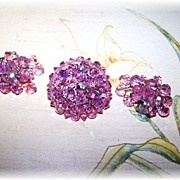 Pretty In Pink Vintage Faceted Aurora Borealis Crystal Brooch & Earring Demi-Parure