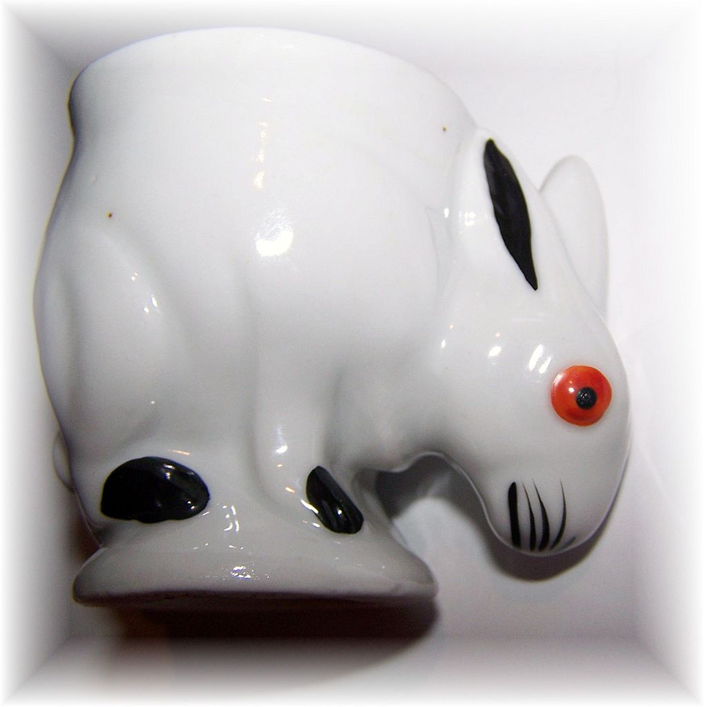 Hand Painted Ceramic  Figural Bunny Rabbit Egg Cup