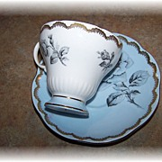 Powder Blue Floral Rose Motif Tea Cup & Saucer Foley