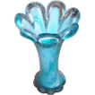 Pretty Turquoise Blue & White Art Glass Vase