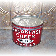 Advertising Breakfast Cheer Coffee Can Tin Litho Vintage