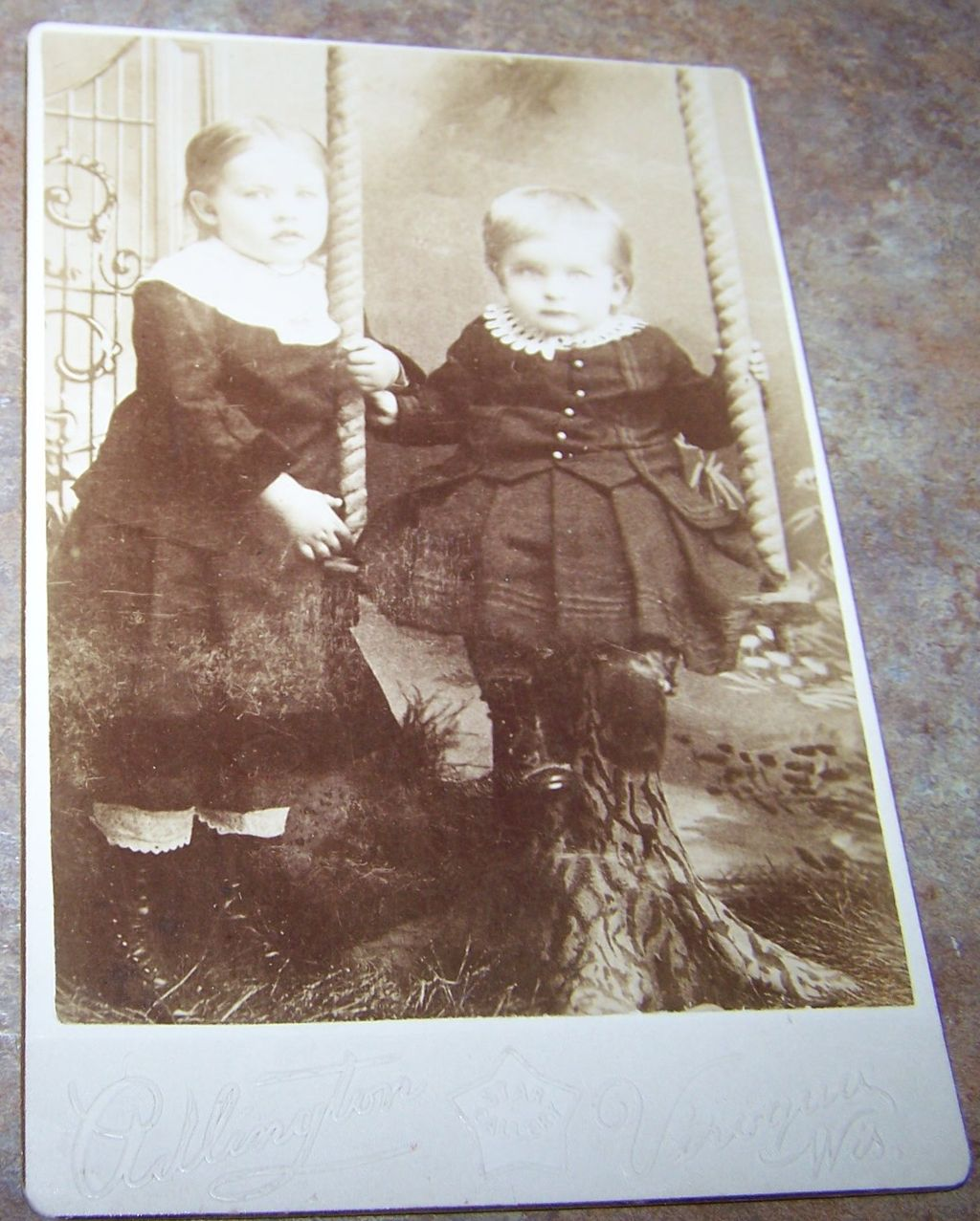 Sweet Vintage Cabinet Card Photograph 2 Young Children & Swing