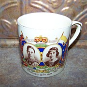 Small Royalty Souvenir Mug Crowned May 12 C. 1937  King George VI Queen Elizabeth