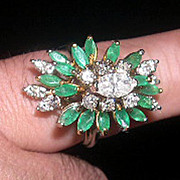 18k wg Diamond and Emerald Enormous Cocktail Ring  Fabulous