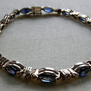 Fine 14K YG Sapphire & Diamond Line Bracelet