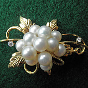 Stunning Vintage 18K Gold Leaf Brooch Pin With Pearls & Diamonds