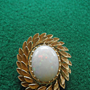 Fabulous Fire Opal 14K Brooch