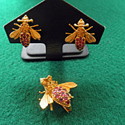 14K Fly Brooch & Earrings  Rubies, Citrines & Diamonds