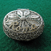 800 Silver Filigree Box &quot;ROMA&quot;