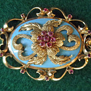 14K Enamel & Rubies Edwardian Brooch/Pendant