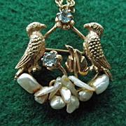 Stunning 14K Bird Pendant/Brooch With Pearls & Aquamarine On 14K Chain