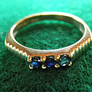 14K White Gold & Sapphire Ring Stackable Size 5 3/4