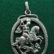 "Peruzzi Sterling Pendant ""St. George Slaying The Dragon"""