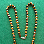 Vintage Tiger Eye Necklace 25""