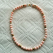 Vintage Angel Skin Coral 16&quot; Necklace Gold Filled Beads