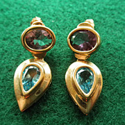 14K Amethyst & Blue Topaz Modernest Earrings