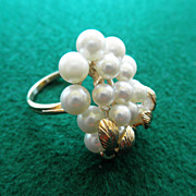 Estate 10K Pearl Cluster Ring