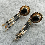Native American Sterling & Onyx Earrings