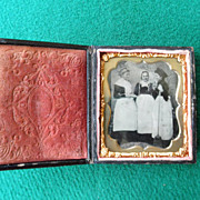 6TH Plate Tintype Three Maids Cased