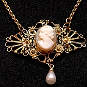 Great Art Nouveau Shell Cameo Necklace