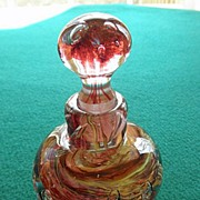 Contemporary Art Glass Hand Blown Perfume or Cologne Bottle