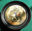 "Framed 19th Century English Prattware Pot Lid ""The Wolf And The Lamb"""