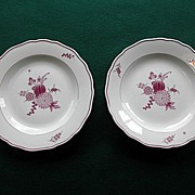 Set Of Two Antique Meissen Mulberry Dinner Plates