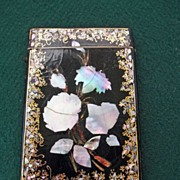 Large English Victorian Papier Mache Card Case