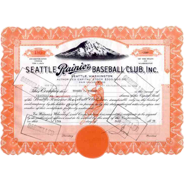 1939 Seattle Rainier Baseball Club Stock