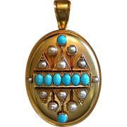 Antique Locket With Turquoise & Pearls, Set in 15-18K Gold,  English, Circa 1870