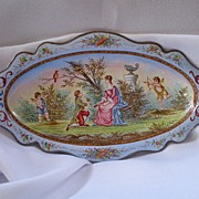 Antique French PIn Tray .....Hand Painted  Enamel On Silver