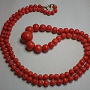 Antique Coral Bead Necklace With 14K Clasp,  European, Circa 1890