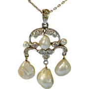 Art Nouveau, Pearl & Rose-Cut Diamond Pendant , In Platinum Topped , 14K Yellow Gold
