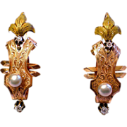 Antique Poissard  Earrings;  18K , Diamonds & Pearls , French , Circa 1790