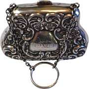 Antique Sterling Purse With Chatelaine Ring , English, Circa 1906