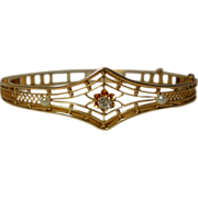 Bracelet;  Pearls & Diamond In 10K Gold, Circa 1910