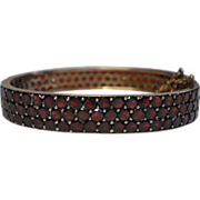 Garnet Bangle  Bracelet , Three Rows Of  Flat-Cuts, Czech, Circa 1890