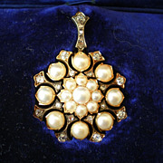 "Victorian Pendant ; Pearl & Diamond ""Snowflake""  , With  Hair & Brooch Attachment"