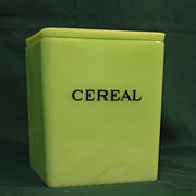 Square Jadite Cereal Canister, Floral Lid, Jeannette Glass Co.