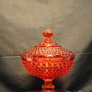 Vintage Fenton Colonial Orange Pedestal Candy Dish with Lid