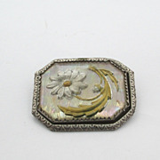 Reverse Painted Mother Of Pearl Crystal Daisy Pin Brooch Goofus Glass