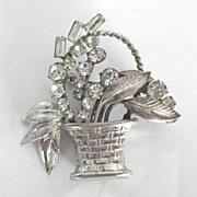 Vintage Sterling Silver Rhinestone Basket Brooch Carl-Art Pin