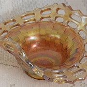 REDUCED Fenton Carnival Glass Vaseline Open Edge 2 Sides Up Basket
