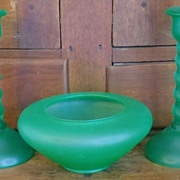 REDUCED 1920's-30's Tiffin Green Satin Glass Console Set  ***Make an Offer Sale***