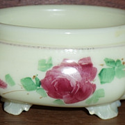 REDUCED Custard Glass w/Handpainted Roses Pin or Puff Base   ***Make an Offer Sale***