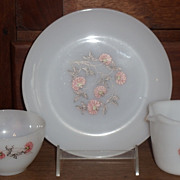 3 Pc. Lot Fire King Fleurette Dinner Ware