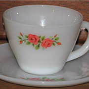 (O/A) Fire King Premium Rose Cup/Saucer Set