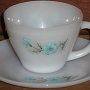 (B) Fire King Premium Carnation Cup/Saucer Set(s)